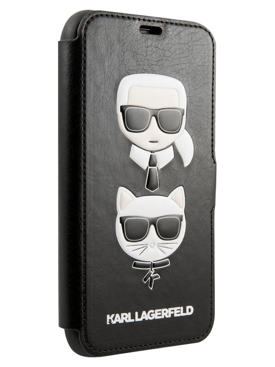 Чехол Lagerfeld для iPhone 11 Pro PU Leather Karl and Choupette Booktype stand Black